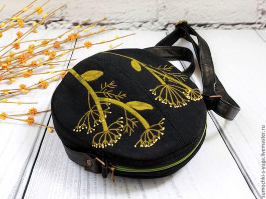 Женские сумки ручной работы. Ярмарка Мастеров - ручная работа. Купить Сумка Ночка. Handmade. Цветочный, зелень, трава, кожа