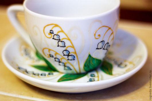 """Сервизы, чайные пары ручной работы. Ярмарка Мастеров - ручная работа. Купить Чайная пара """"Ландыши"""". Handmade. Ландыши"""