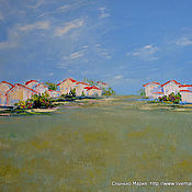 Pictures handmade. Livemaster - original item Oil painting. Southern city Houses Steppe. Handmade.