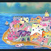 """Картины и панно ручной работы. Ярмарка Мастеров - ручная работа Картина батик """"Остров Искья, Италия"""". Handmade."""