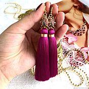 Украшения handmade. Livemaster - original item Earrings-tassel Ladybug pink purple fuchsia silk cubic Zirconia gold plated. Handmade.