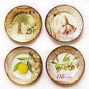 """Посуда ручной работы. Ярмарка Мастеров - ручная работа """"Средиземноморская трапеза"""". Комплект тарелок. Handmade."""