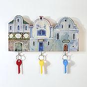 Для дома и интерьера handmade. Livemaster - original item Wooden Key holder Blue Houses. Handmade.