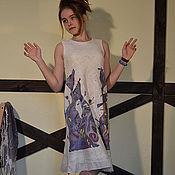 """Сарафаны ручной работы. Ярмарка Мастеров - ручная работа Платье """" Кошки"""" батик, шелк, элитный меринос. Handmade."""