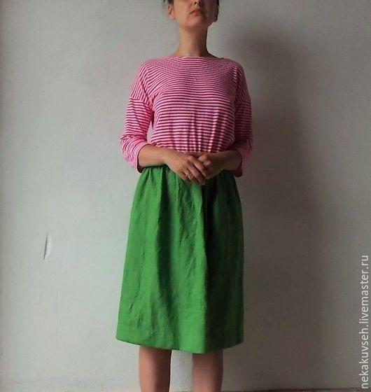 """Юбки ручной работы. Ярмарка Мастеров - ручная работа. Купить Юбка """"кэжл"""" льняная. Handmade. Зеленый, юбка миди, кэжуал"""