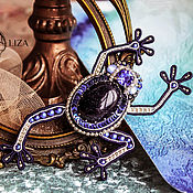 handmade. Livemaster - original item Embroidered brooch Frog blue Tit. soutache brooch. Brooch with stones. Handmade.