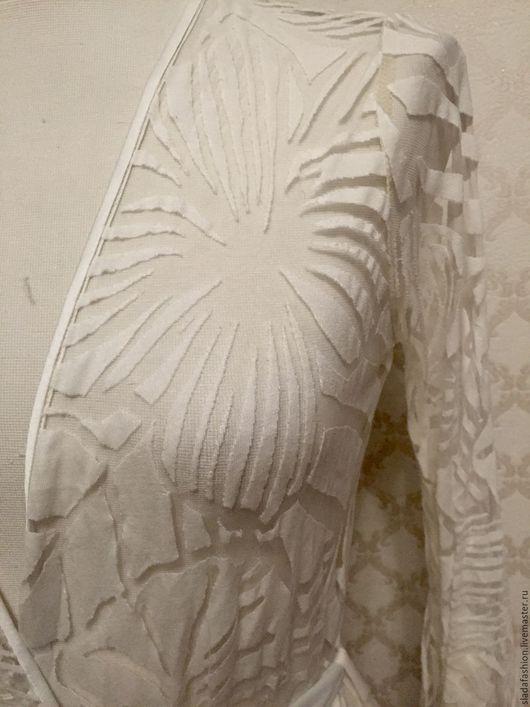 Халаты ручной работы. Ярмарка Мастеров - ручная работа. Купить Длинная накидка Тропический лес. Handmade. Белый, полупрозрачный трикотаж