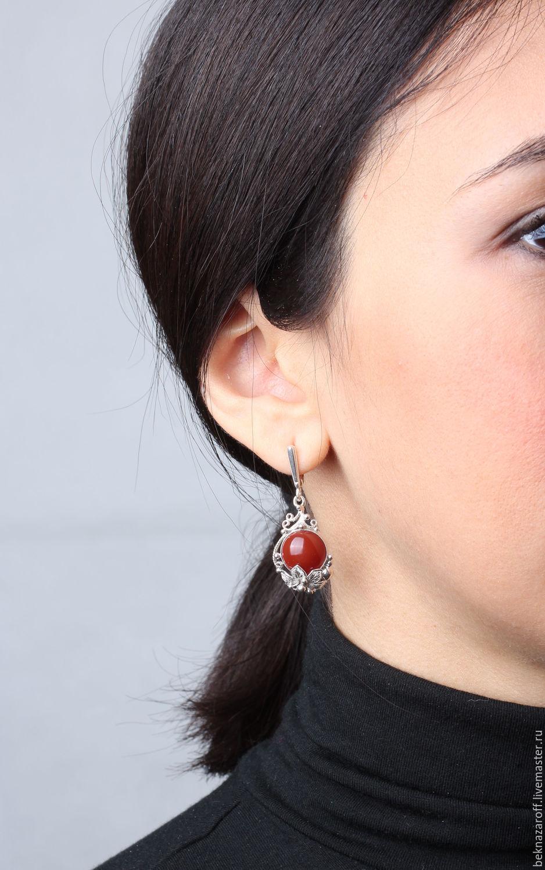 Серьги из серебра 925 с сердоликом, Серьги классические, Тамбов,  Фото №1