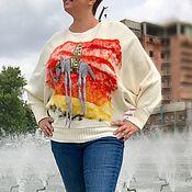 Одежда ручной работы. Ярмарка Мастеров - ручная работа Победный Слоник Дали джемпер вязаный с декором из шерсти. Handmade.