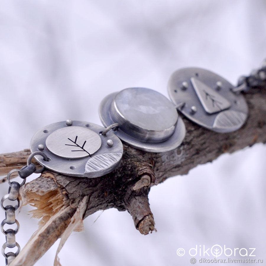 Браслет серебро Зимний Лес, лунный камень, Браслет-цепочка, Москва,  Фото №1