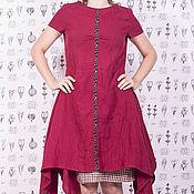 Одежда ручной работы. Ярмарка Мастеров - ручная работа Малиновое льняное платье с нижней юбкой в клетку. Handmade.