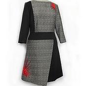Одежда ручной работы. Ярмарка Мастеров - ручная работа платье авторское черное платье с красной вышивкой платье асимметричное. Handmade.