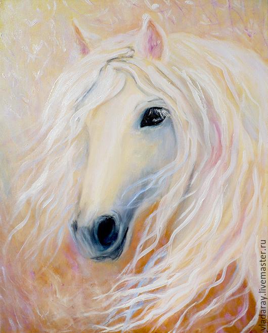 Картина `Нежность. Белая лошадь` 50x40 см  Доставка по всему миру авиа почтой бесплатно.  Картина маслом - красивый подарок на день рождения, день св. Валентина, Новый Год и другие праздники.