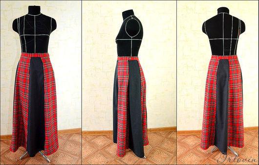 Юбки ручной работы. Ярмарка Мастеров - ручная работа. Купить Длинная юбка с клиньями из правильной шотландки. Handmade. В клеточку