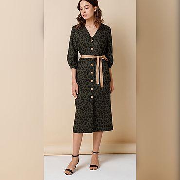 Одежда ручной работы. Ярмарка Мастеров - ручная работа Платье темно-оливкового цвета с принтом. Handmade.
