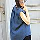 R00009 Летняя туника туника из льна синяя туника синий топ синяя одежда лето 2015 модный топ свободный стиль Топ из льна летний топ туника летняя туника модная одежда