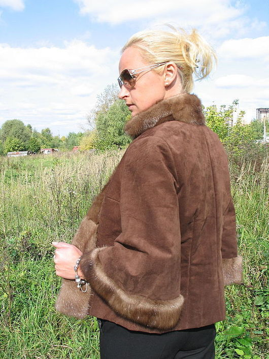 Верхняя одежда ручной работы. Ярмарка Мастеров - ручная работа. Купить Курточка с норкой. Handmade. Коричневый, замшевая куртка купить