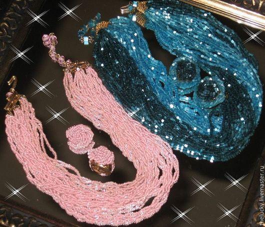 Винтажные украшения. Ярмарка Мастеров - ручная работа. Купить Старинный Комплект из Японского бисера Royal Blue. Винтаж. Handmade. Синий