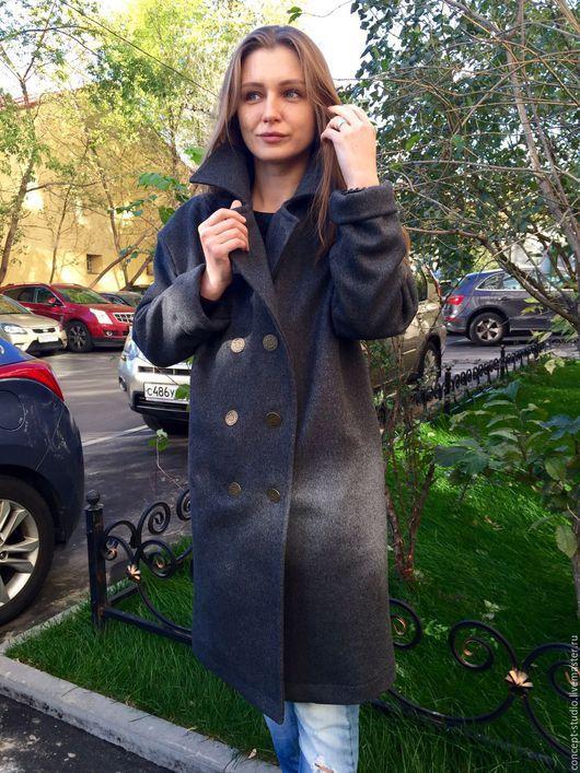 Верхняя одежда ручной работы. Ярмарка Мастеров - ручная работа. Купить Пальто утеплённое демисезонное серое. Шерсть 100%.. Handmade.