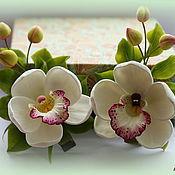 Украшения ручной работы. Ярмарка Мастеров - ручная работа Орхидея с бутонами (мини)-зажим для волос. Handmade.