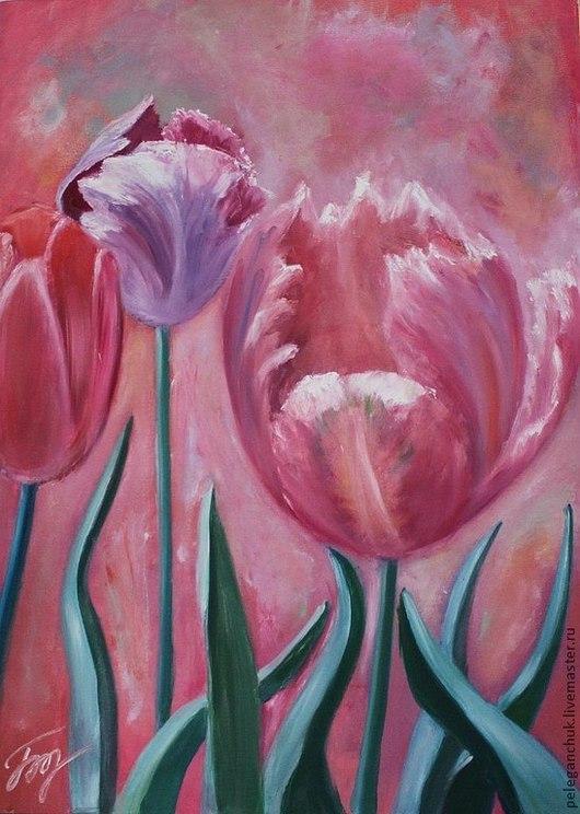 """Картины цветов ручной работы. Ярмарка Мастеров - ручная работа. Купить Картина масло холст цветы букет """"Тюльпаны"""". Handmade."""