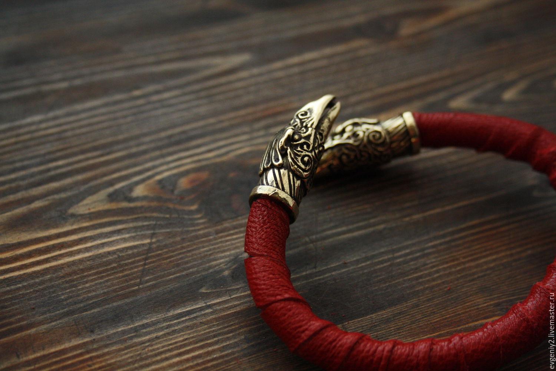 b688bc5a006b Браслеты ручной работы. Заказать Вороны Одина кожаный браслет ,мужской  браслет.