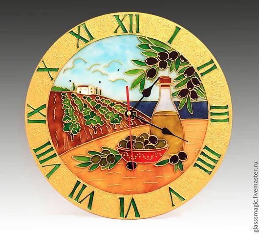 """Часы для дома ручной работы. Ярмарка Мастеров - ручная работа. Купить """"Средиземноморье"""" часы из стекла, витражная роспись, роспись по стеклу. Handmade."""