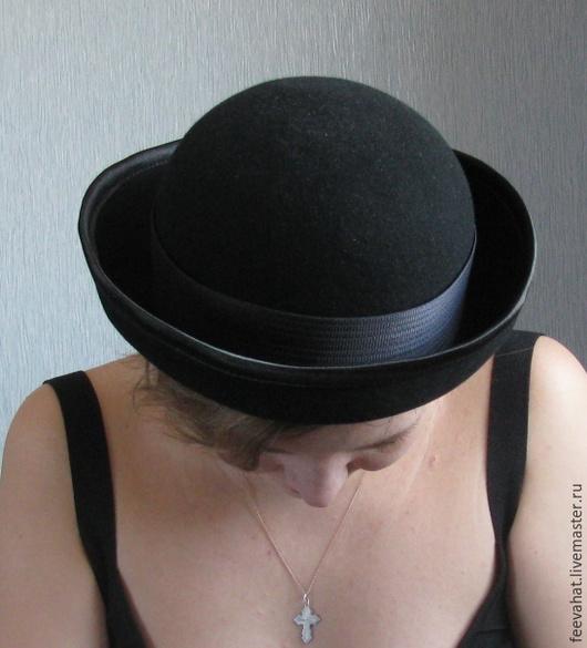 Шляпы ручной работы. Ярмарка Мастеров - ручная работа. Купить Черная шляпа котелок. Handmade. Черный, черная шляпа