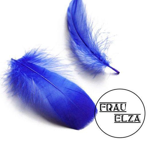 Другие виды рукоделия ручной работы. Ярмарка Мастеров - ручная работа. Купить Мягкие перья гуся 10 шт Синие. Handmade.