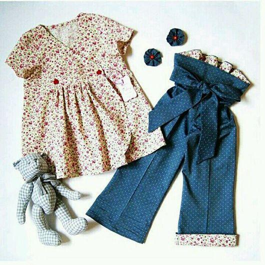 Одежда для девочек, ручной работы. Ярмарка Мастеров - ручная работа. Купить Комплект: туника и брючки. Handmade. Разноцветный, одежда для девочек