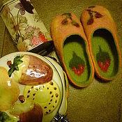 Работы для детей, handmade. Livemaster - original item Slippers felted Berries, candy. Handmade.