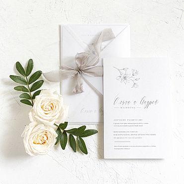 """Свадебный салон ручной работы. Ярмарка Мастеров - ручная работа Приглашение """"Каролина"""", в конверте из кальки. Handmade."""
