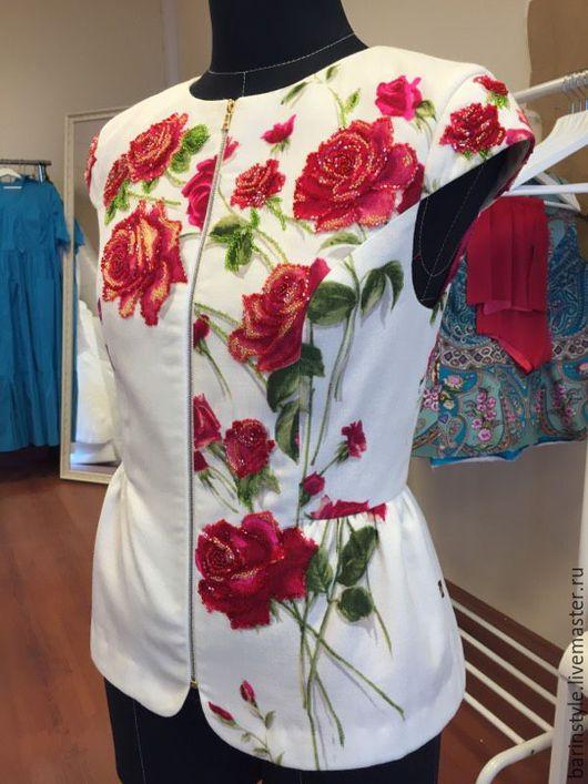 Пиджаки, жакеты ручной работы. Ярмарка Мастеров - ручная работа. Купить Эксклюзивная душегрея в русском стиле с вышивкой бисером. Handmade.
