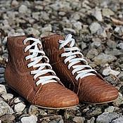 Обувь ручной работы handmade. Livemaster - original item shoes without a heel high leather python beige. Handmade.