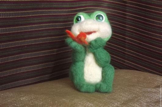 Игрушки животные, ручной работы. Ярмарка Мастеров - ручная работа. Купить игрушка из шерсти Лягушонок Никки. Handmade. Зеленый