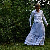 Одежда ручной работы. Ярмарка Мастеров - ручная работа Юбка хлопковая в полоску летняя морская. Handmade.