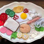 Кукольная еда ручной работы. Ярмарка Мастеров - ручная работа Набор фетровой еды. Handmade.