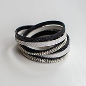 """Кожаный браслет """"Черное и белое"""""""