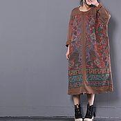 Одежда ручной работы. Ярмарка Мастеров - ручная работа Длинные коричневые платья / одежда большого размера. Handmade.