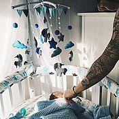 Мобили на кроватку ручной работы. Ярмарка Мастеров - ручная работа Мобиль в кроватку из фетра - Северные единорожки. Handmade.