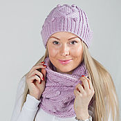"""Аксессуары ручной работы. Ярмарка Мастеров - ручная работа """"Пыльная роза"""", комплект вязаный, шарф снуд вязаный и шапка вязаная. Handmade."""