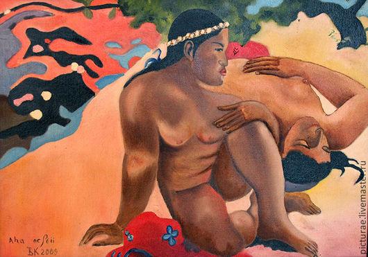 """Люди, ручной работы. Ярмарка Мастеров - ручная работа. Купить Картина маслом на холсте, по мотивам картины Гогена """"А ты ревнуешь?"""". Handmade."""