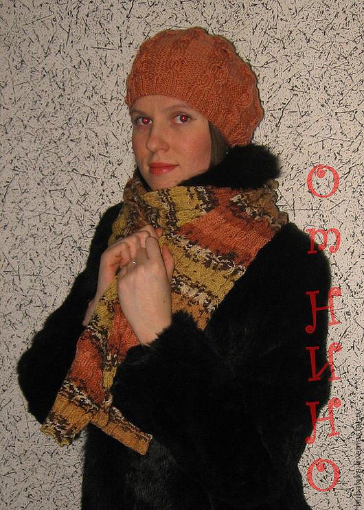 """Береты ручной работы. Ярмарка Мастеров - ручная работа. Купить Комплект женский вязаный : ШАРФ + БЕРЕТ """"РУЧЕЕК"""". Handmade."""