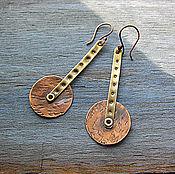 Украшения ручной работы. Ярмарка Мастеров - ручная работа Длинные серьги из меди и латуни. Handmade.