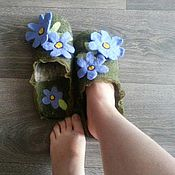 """Обувь ручной работы. Ярмарка Мастеров - ручная работа Тапочки """"Незабудки"""". Handmade."""