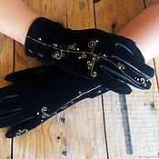 "Gloves handmade. Livemaster - original item Black women leather gloves.Unique design ""In curls"" Size 8.5. Handmade."