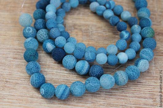 """Для украшений ручной работы. Ярмарка Мастеров - ручная работа. Купить Агат """"Синяя ягода"""" 10 мм кракле. Handmade."""