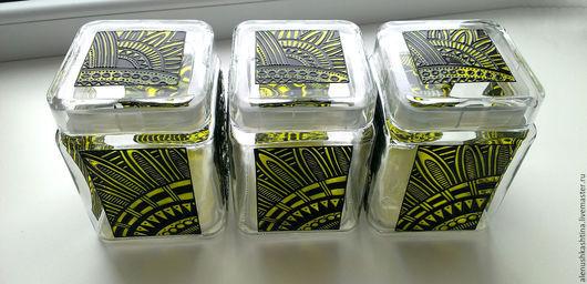 Кухня ручной работы. Ярмарка Мастеров - ручная работа. Купить Банки «Лаймовые ирокезы». Handmade. Банка для чая, Роспись по стеклу