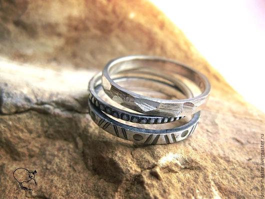 сет колец, набор колец, украшения из серебра, серебряные украшения,