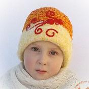 Работы для детей, ручной работы. Ярмарка Мастеров - ручная работа Детская теплая вязаная шапка для девочки Жар-птица. Handmade.